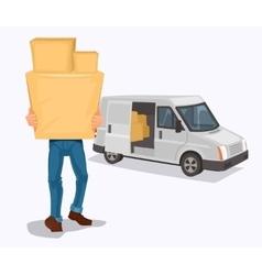 Man carries a cardboard box vector
