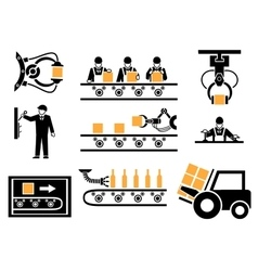 Manufacturing process or production icons set vector image
