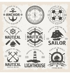 Nautical emblem set in color vector