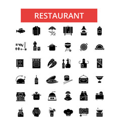 restaurant food thin line icons vector image vector image
