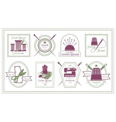 Retro Tailor Labels or Needleworks Emblems vector image