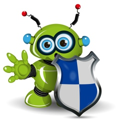Robot with a Shield vector image vector image