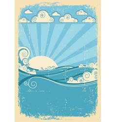 Sea waves in sun day Vintage abstract image on vector image vector image