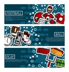 Set of horizontal banners about american football vector