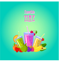 smoothies time with different vector image vector image