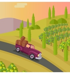 Track Carries Baskets with Grape Wine Production vector image