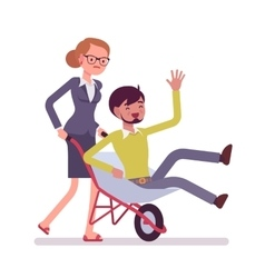 Woman pushing a man in the wheelbarrow vector image vector image