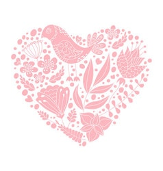 Doodle bird and floral elements in heart shape vector