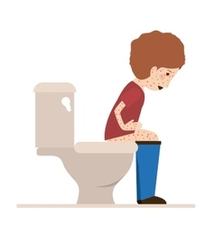 Person sick with diarrhea vector