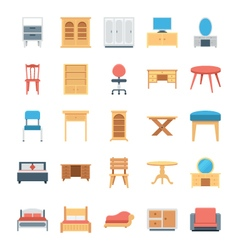 Furniture colored icons 2 vector