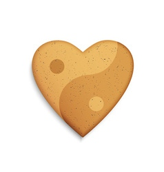 Gingerbread cookie in the shape of a heart vector image