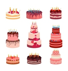Sweet baked isolated cakes set vector