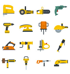 Electric tools icons set in flat style vector