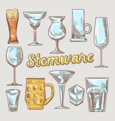 Stemware hand drawn glasses vector