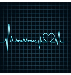 Heartbeat make a healthcare text and heart symbol vector