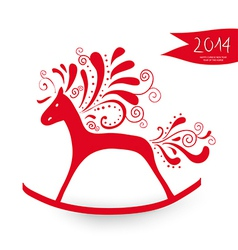 Chinese New Year of the Horse greeting card vector image