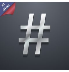 Hash tag icon symbol 3d style trendy modern design vector