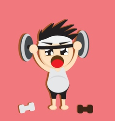 A boy lifting weights vector