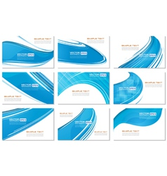Set of abstract various business card wave design vector