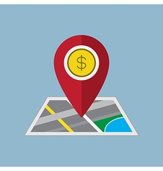 Money pin on map vector