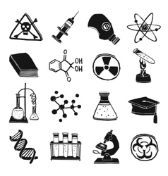 Black and white laboratory chemistry icon set vector