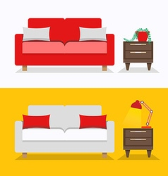 Sofa interior design vector