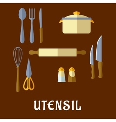 Kitchenware and utensil flat icons vector