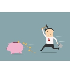 Businessman wants to break piggy bank vector image