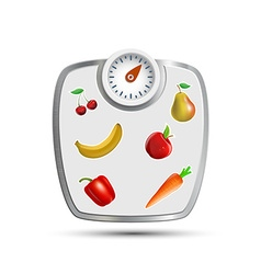 Scales for weighing with fruits and vegetables vector