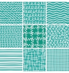 Abstract doodle seamless patterns set vector