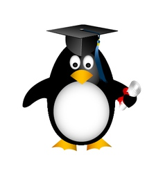 Graduation penguin vector