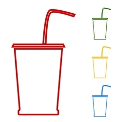 Drink set of line icons vector
