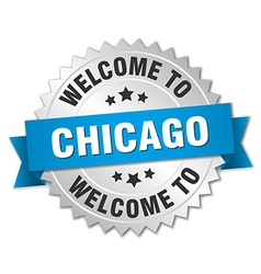 Chicago 3d silver badge with blue ribbon vector