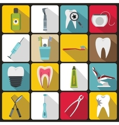 Dental care icons set flat style vector