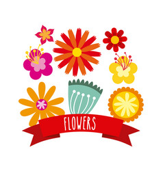 Beautiful flowers icon vector
