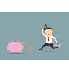 Businessman wants to break piggy bank vector image