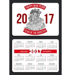 Calendar 2017 with rooster vector