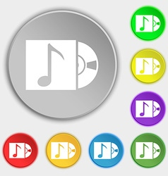 Cd player icon sign symbols on eight flat buttons vector