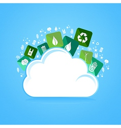 Cloud computing eco friendly icons vector image vector image