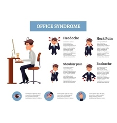 Concept of office syndrome in men vector image