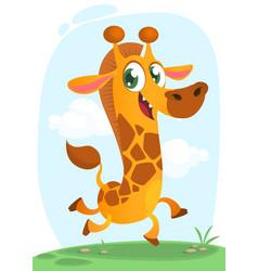 cool giraffe running cartoon vector image vector image