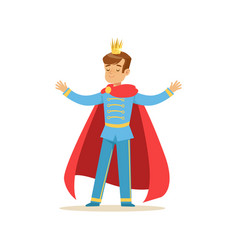 Cute boy prince in a golden crown and red cloak vector