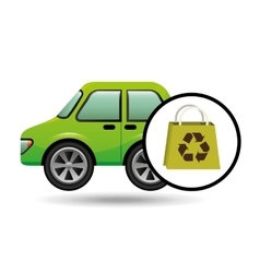 eco car bag shop icon environment vector image
