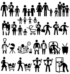 Family icons people silhouettes set vector