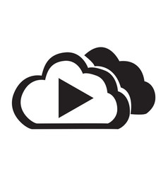 flat black cloud play button icon vector image vector image