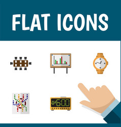 Flat icon oneday set of timer boardroom vector