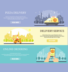 food delivery banners order pizza online vector image