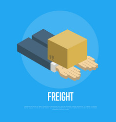 Freight delivery concept with human hands vector