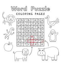 Funny animals coloring book word puzzle vector