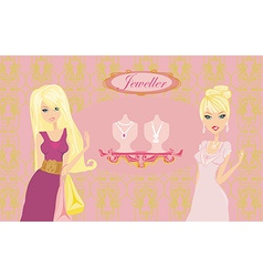 Girls and jewellerys vector image vector image